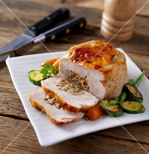 Stuffed turkey breast with a side of vegetables