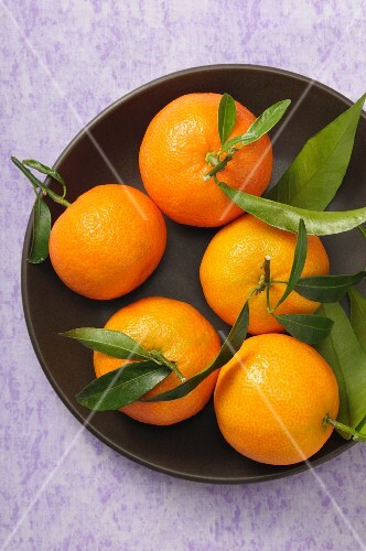 A bowl of mandarins with leaves