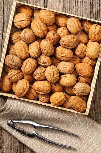 Walnuts in a wooden box