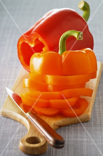 Sliced peppers on a chopping board