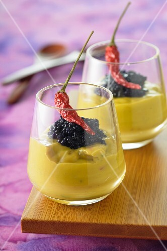 Avocado mousse with caviar and dried chilli peppers