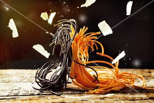 Pasta dancing the tango in Parmesan rain