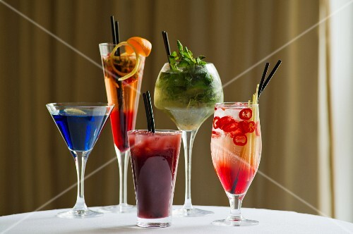 Various cocktails on a table