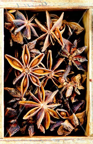 Star anise in a wooden box