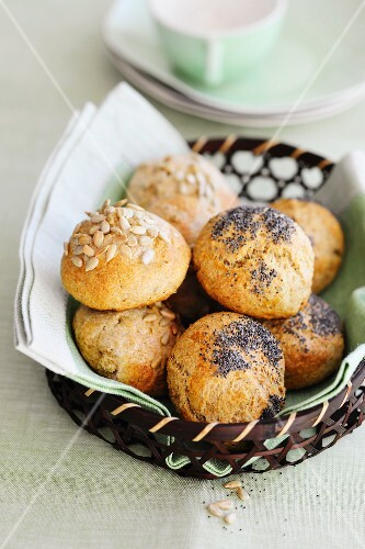 Assorted bread rolls in a basket