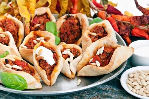 Mini Turkish pizzas with lamb