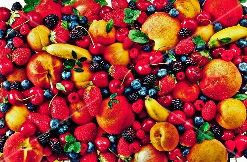 Various fruits and berries (full frame)