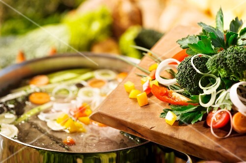 Vegetables and a soup pot