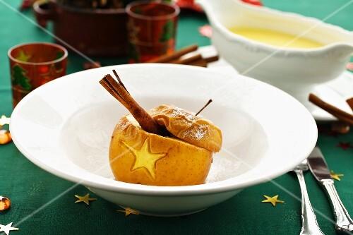 Baked apple with custard