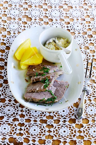 Prime boiled beef with potatoes and horseradish