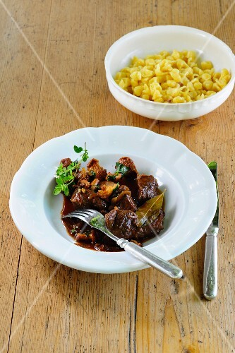 Venison goulash with mushrooms and Spätzle (soft egg noodles from Swabia)