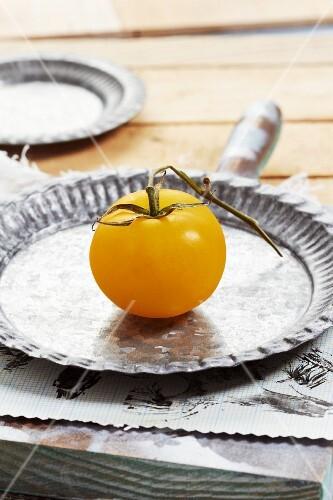A yellow tomato