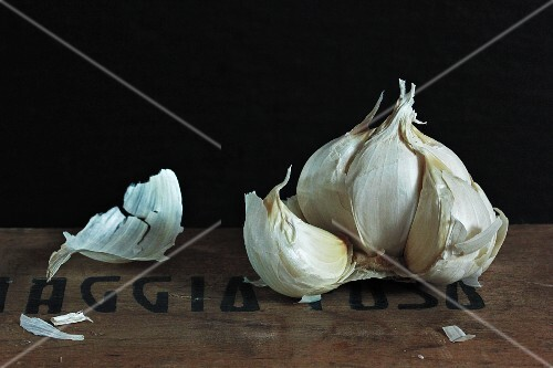 Garlic bulb with cloves removed