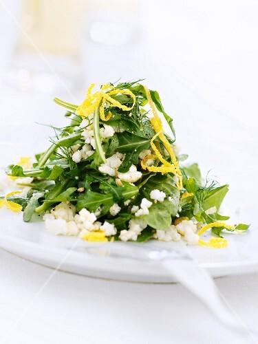 Rocket salad with feta and orange zest