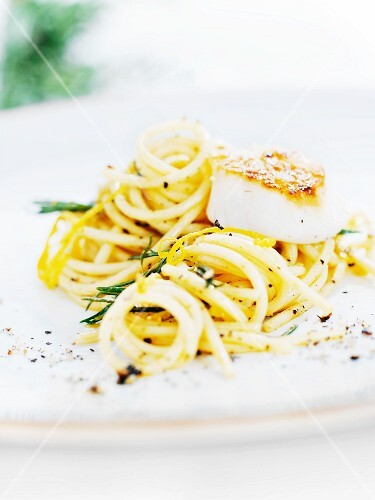 Spaghetti with cod, rosemary and lemon