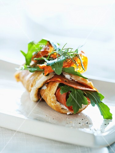 An omelette filled with chorizo and rocket