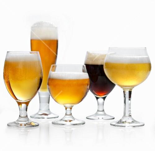 Various types of beer in glasses