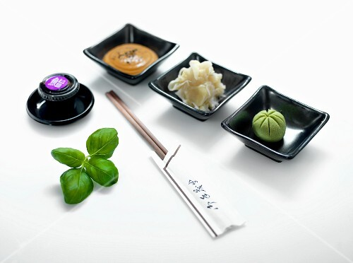 Sushi dips, pickled ginger and wasabi paste