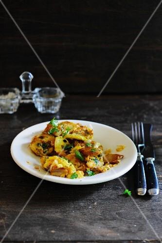 Potato, pork, egg and parsley hash