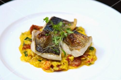Bass with prawns, chorizo and saffron rice