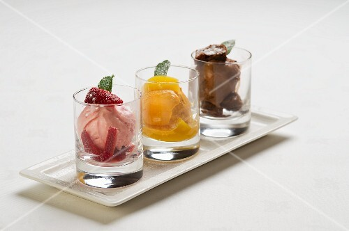 Strawberry ice cream, mango ice cream and chocolate ice cream