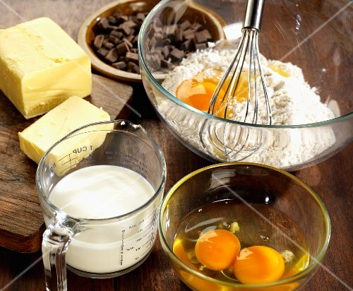 Ingredients for chocolate chip brioche