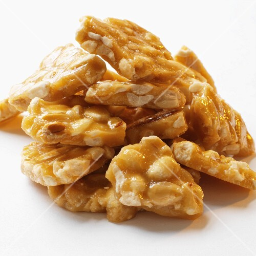 A pile of peanut brittle