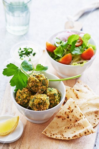 Falafel with unleavened bread and salad