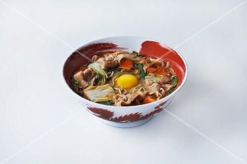 Ramen noodle soup with egg and pork (Japan)