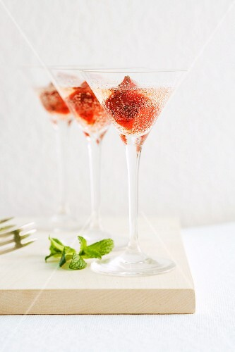 Strawberry mint ice cream in champagne