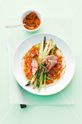 Mixed asparagus in tomato salsa