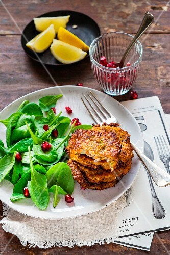 Pumpkin and buckwheat cakes with spring onions