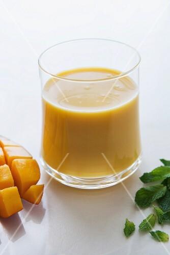 A mango-mint smoothie