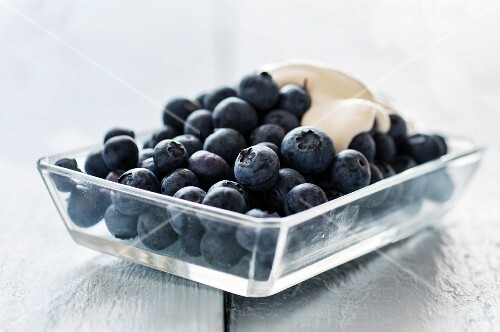 Fresh blueberries with a dollop of yogurt