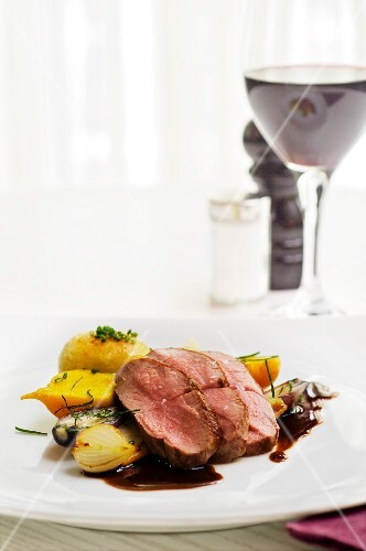 Fillet of lamb with root vegetables