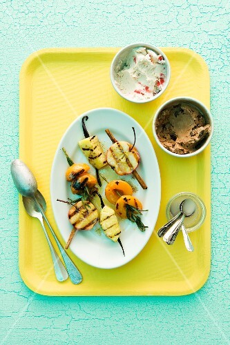 Grilled fruit skewers and ice cream