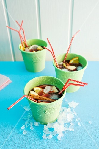 Sangria in cups with straws