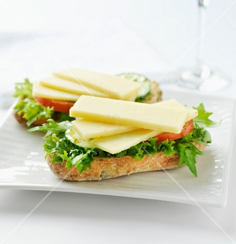 Cheddar cheese with lettuce on ciabatta bread