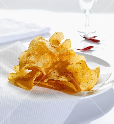 Home-made chilli potato crisps