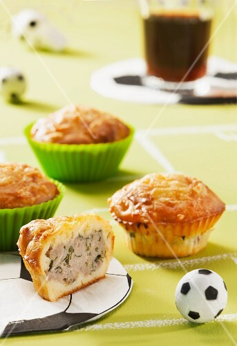 Cheese muffins filled with minced meat for a football-themed party