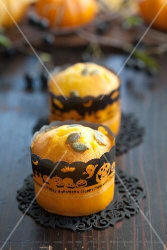 Pumpkin muffins with pumpkin seeds