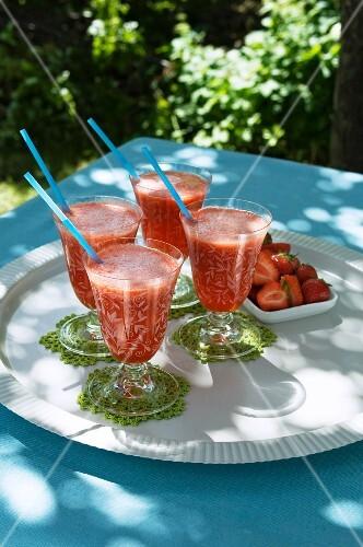 For strawberry daiquiris, garden table