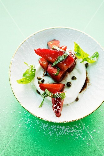 Buffalo mozzarella with a strawberry and basil salad