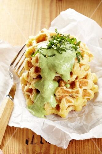 Potato waffles with herb sauce