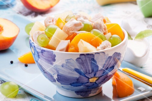 Chicken salad with grapes, peaches and pineapple