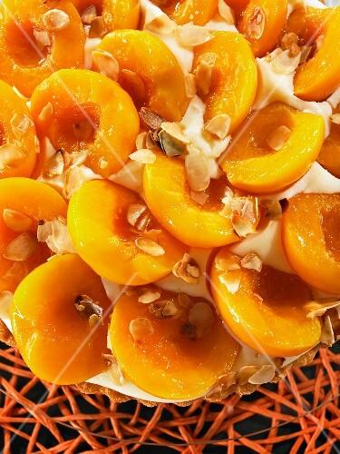Peach cake with slivered almonds