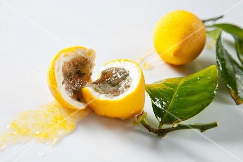 A stuffed lemon sweet, halved