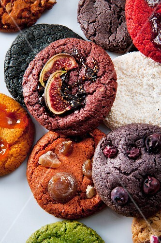 Various cookies seen from above