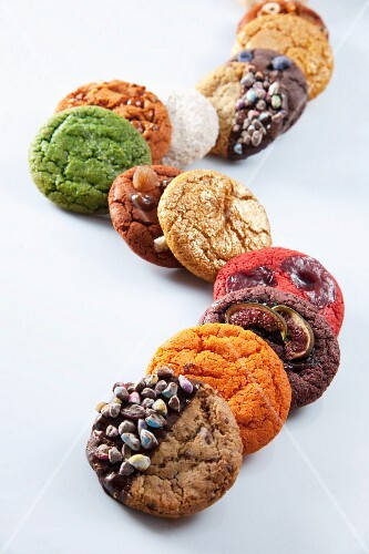 A row of various cookies