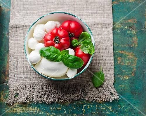 A bowl of tomatoes, mozzarella and basil